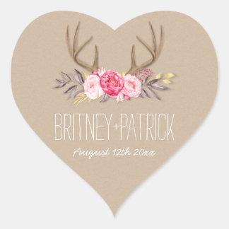 Rustic Peony & Deer Antler Wedding Favors Seals Heart Sticker