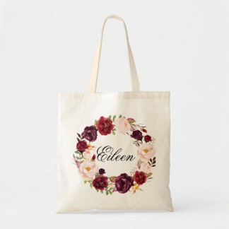 Rustic Peony Floral Wreath Wedding Welcome Tote Bag