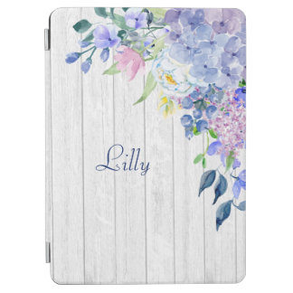 Rustic Personalized Watercolor Purple Hydrangeas iPad Air Cover