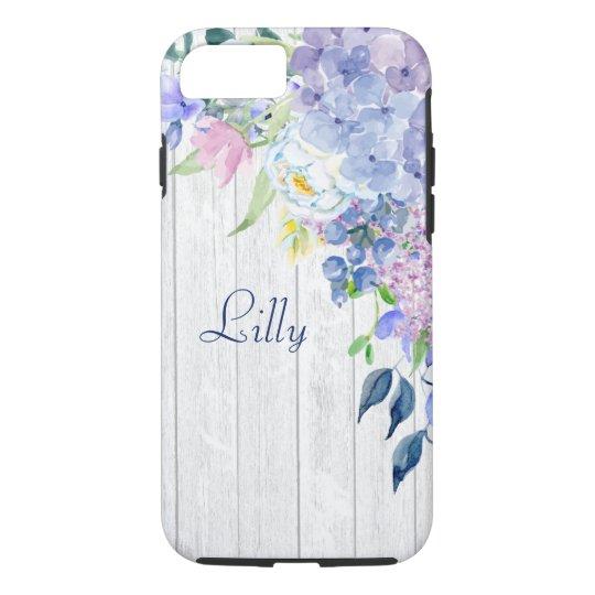 Rustic Personalized Watercolor Purple Hydrangeas iPhone 7 Case