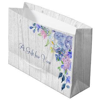 Rustic Personalized Watercolor Purple Hydrangeas Large Gift Bag