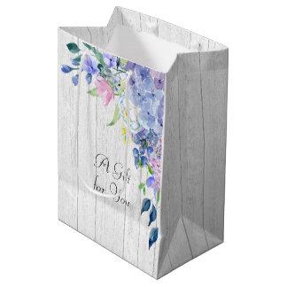 Rustic Personalized Watercolor Purple Hydrangeas Medium Gift Bag
