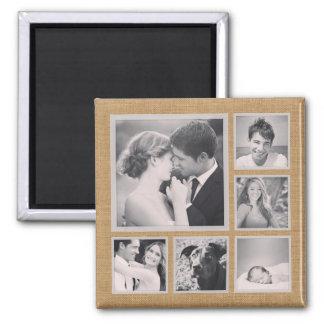 Rustic Photo Collage Square Magnet