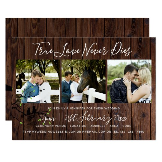 Rustic PHOTO Collage Wedding INVITATION Wood