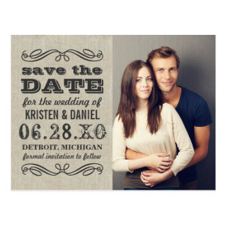 Rustic Photo Save the Date | Vintage Style Card Postcard