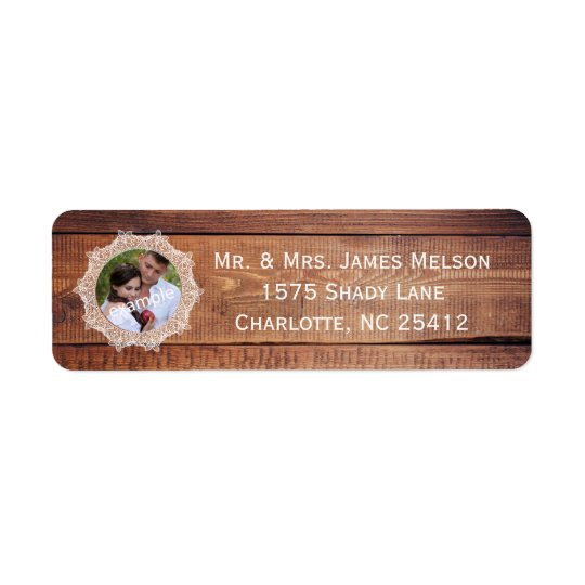 Rustic Photo Wood and Lace Return Address