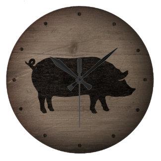 Rustic Pig Silhouette Large Clock