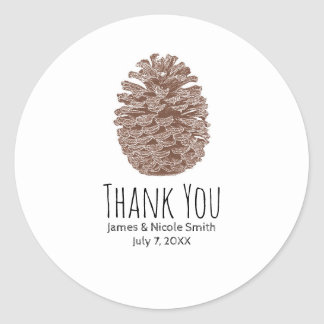 Rustic Pine Cone Elegant Simple Country Wedding Classic Round Sticker