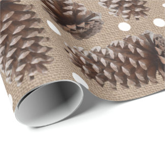 Rustic Pine Cones Burlap White Dots Wrapping Paper
