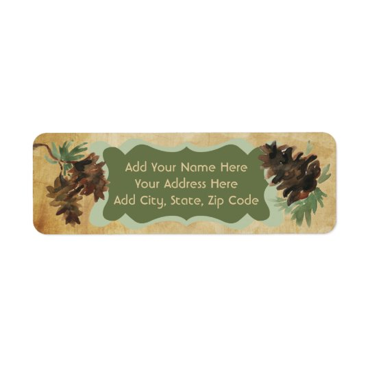 Rustic Pine Cones Holiday Address Labels