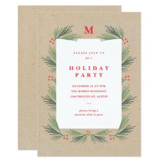 Rustic pine frame monogram party invitation