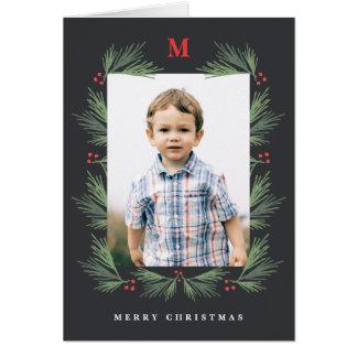 Rustic pine frame monogram photo holiday card
