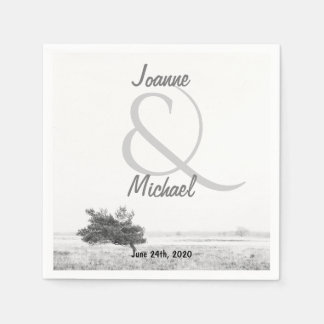 Rustic pine tree country wedding paper napkin