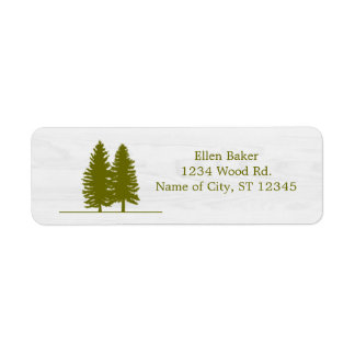 Rustic Pine Trees on White Wood Background
