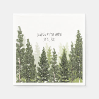 Rustic Pine Trees Simple Country Wedding Disposable Napkins
