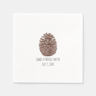 Rustic Pine Trees Simple Country Wedding Paper Napkins
