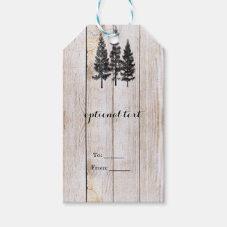 Rustic Pine Trees Wooden Simple Country Wedding Pack Of Gift Tags