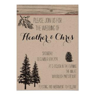 Rustic Pine Wedding Invitation