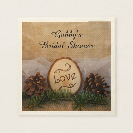 Rustic Pines Woodland Bridal Shower Paper Napkins
