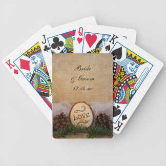 Rustic Pines Woodland Wedding Bicycle Playing Cards