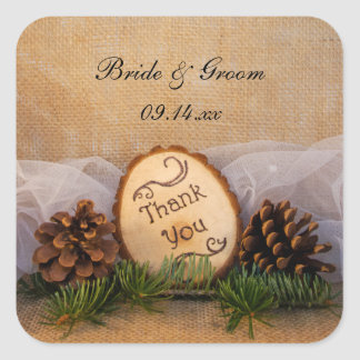 Rustic Pines Woodland Wedding Thank You Favor Tags Square Sticker
