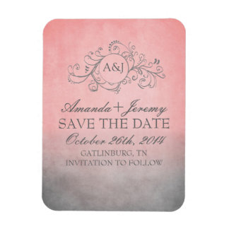 Rustic Pink and Grey Bohemian Save The Date Magnet