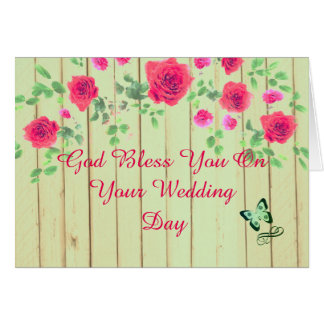 Rustic Pink And Mint Country Wedding Card