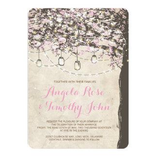 Rustic Pink & Brown Tree Wedding Invitation
