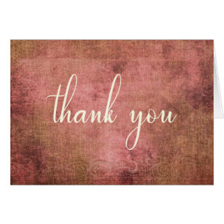 Rustic Pink & Burlap Vintage 2 Thank You Card