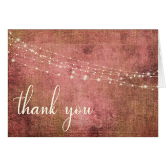 Rustic Pink & Burlap Vintage & Lights, 2 Thank You Card