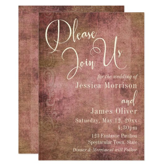Rustic Pink & Burlap Vintage Typography Wedding 2 Card