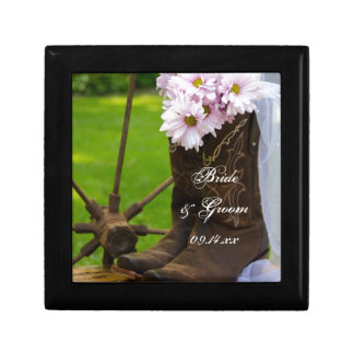 Rustic Pink Daisies and Cowboy Boots Wedding Gift Box