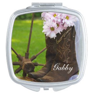 Rustic Pink Daisies Cowboy Boots Country Wedding Compact Mirror