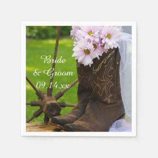 Rustic Pink Daisies Cowboy Boots Western Wedding Paper Napkins