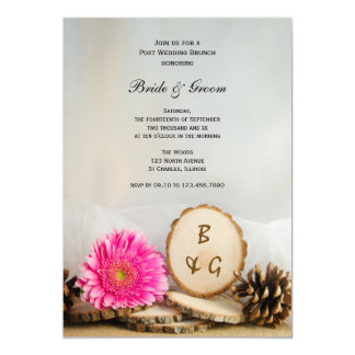 Rustic Pink Daisy Natural Wood Post Wedding Brunch Card