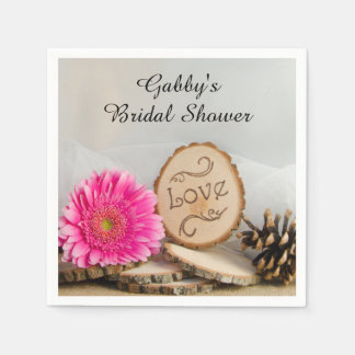 Rustic Pink Daisy Woodland Bridal Shower Paper Napkins