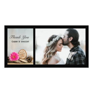 Rustic Pink Daisy Woodland Wedding Thank You Card