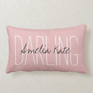 Rustic Pink Darling Monogram Lumbar Pillow