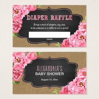 Rustic Pink Floral Diaper Raffle ticket game