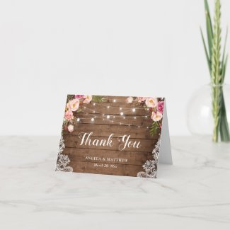 Rustic Pink Floral Lace String Lights Thank You