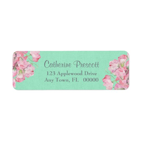 Rustic Pink Floral on Mint Green Burlap