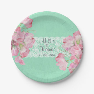 Rustic Pink Floral on Mint Green Burlap Wedding Paper Plate
