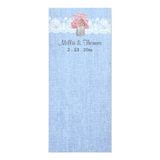 Rustic Pink Floral on Serenity Blue Burlap Wedding Card