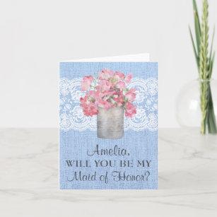 b8daa778f91 Rustic Pink Floral on Serenity Blue Burlap Wedding Invitation