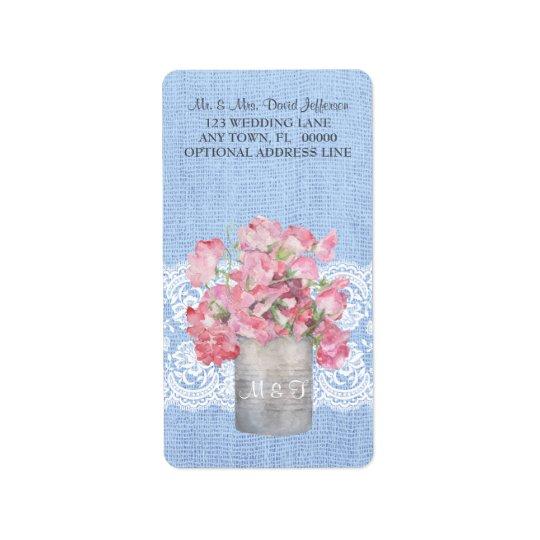 Rustic Pink Floral on Serenity Vlue Burlap Wedding Label