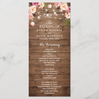 Rustic Pink Floral String Lights Wedding Program