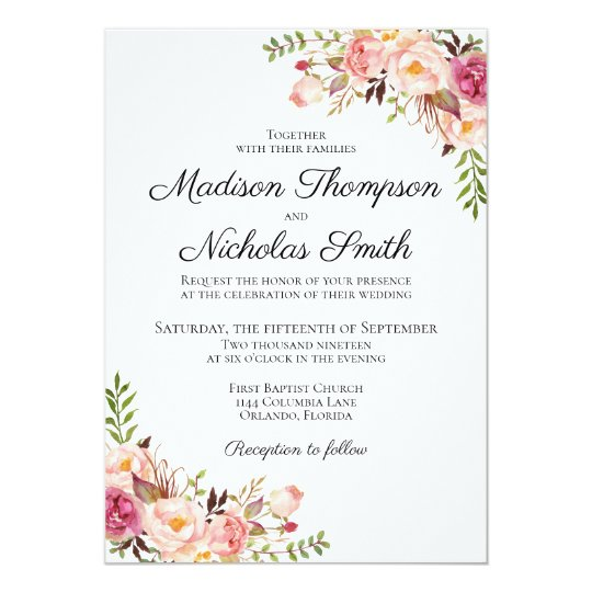 Wedding Invitation Cards.Rustic Pink Floral Wedding Invitation Cards