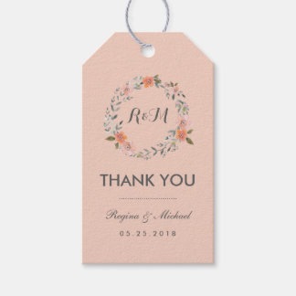 Rustic Pink Floral Wreath Thank You Gift Tag Pack Of Gift Tags