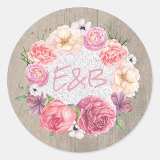 Rustic Pink Flowers Wreath Wedding Classic Round Sticker