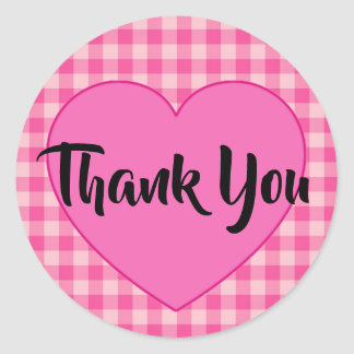 Rustic Pink Gingham Heart Thank You Classic Round Sticker